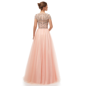 Image 2 - New Formal 3 Layers Evening Dresses Long 2020 Elegant Women Tulle Cap Sleeve Beading Banquet Prom Party Gown Robe De Soiree 5222