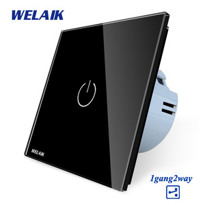 Image 4 - WELAIK ab 1gang2way merdiven dokunmatik anahtarı kristal cam Panel anahtar duvar anahtarı akıllı akıllı ışık anahtarı AC250V A1912CW