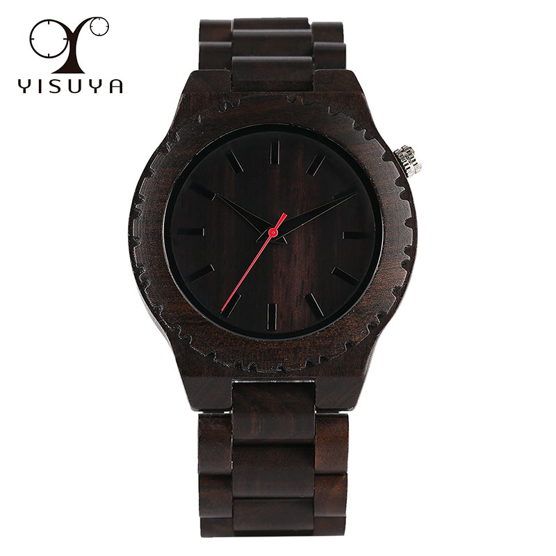 Mens Wooden Wrist Watch Fold Clasp Creative Natural Full Wood Strap Watches for Men Xmas Gift Luxury Wholesale