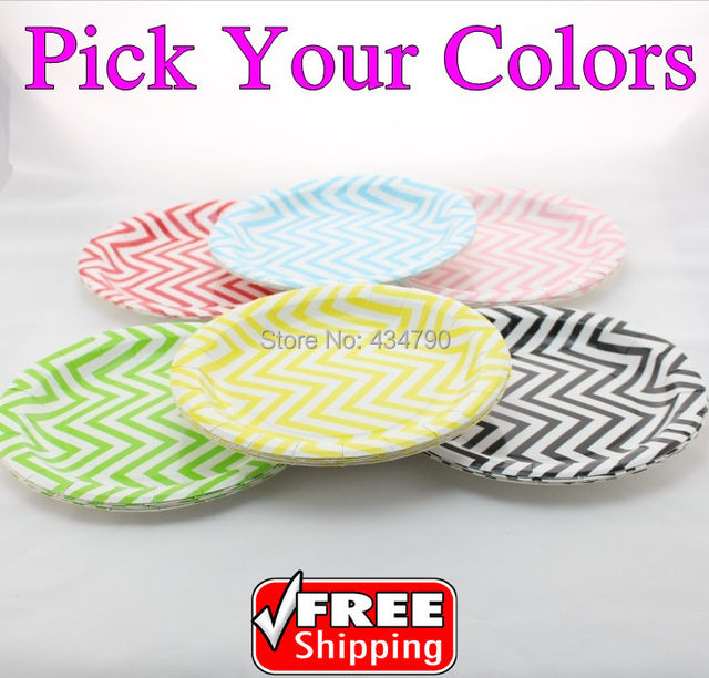 60pcs 9  Pick Your Colors Chevron Paper Plates Green Blue Yellow Black Pink RedWedding Party Dessert Serving Dishes Tableware  sc 1 st  Aliexpress & Online Shop 60pcs 9