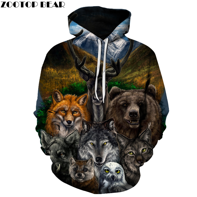 3D Animal Printed Hoodies Men Women Sweatshirts Bear Wolf Owl Fox Pullover Novelty Tracksuits Fashion Casual Hooded Streetwear