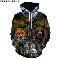 3D Imprimé Animal Hoodies Hommes Femmes Sweat-Shirts Ours Loup Hibou Renard Pull Survêtements Nouveauté De Mode Casual À Capuche Streetwear