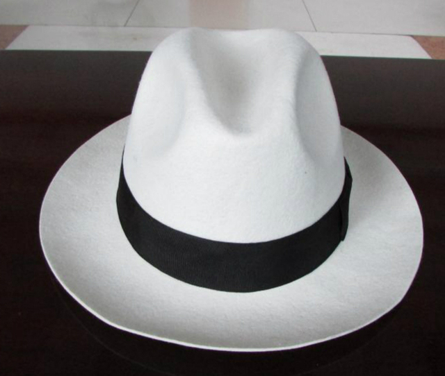 813ef976a37 White Trilby Hat Pure Wool Felt Fedora hats for women girls men black band  bow 6.5cm brim Panama hat 2015