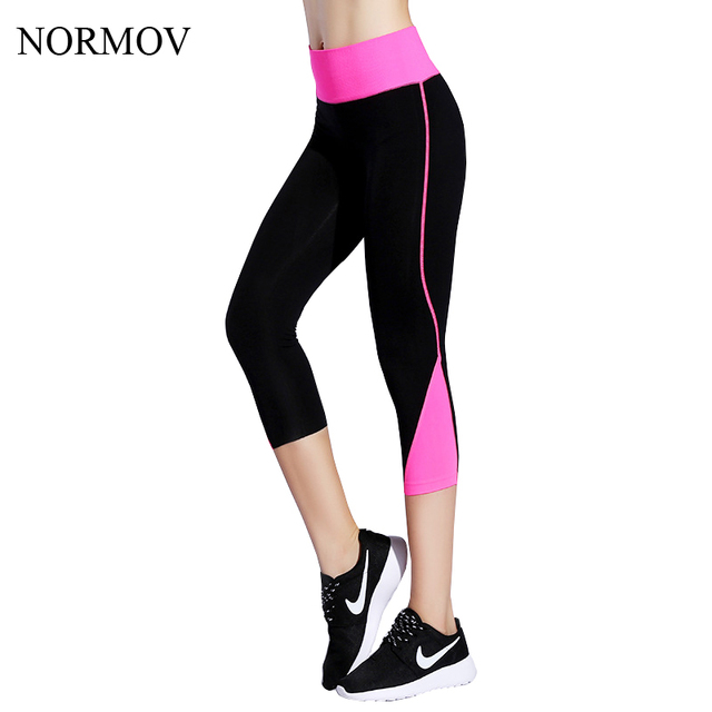 NORMOV 5 Colors M-L Summer Splice Cropped Leggings Women Workout Elastic Legging Adventure Time High Waist Spandex Leggins