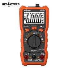 RICHMETERS 113D НТС Цифровой мультиметр 6000 отсчетов Авто начиная AC/DC Напряжение метр Flash light подсветкой большой экран 113A