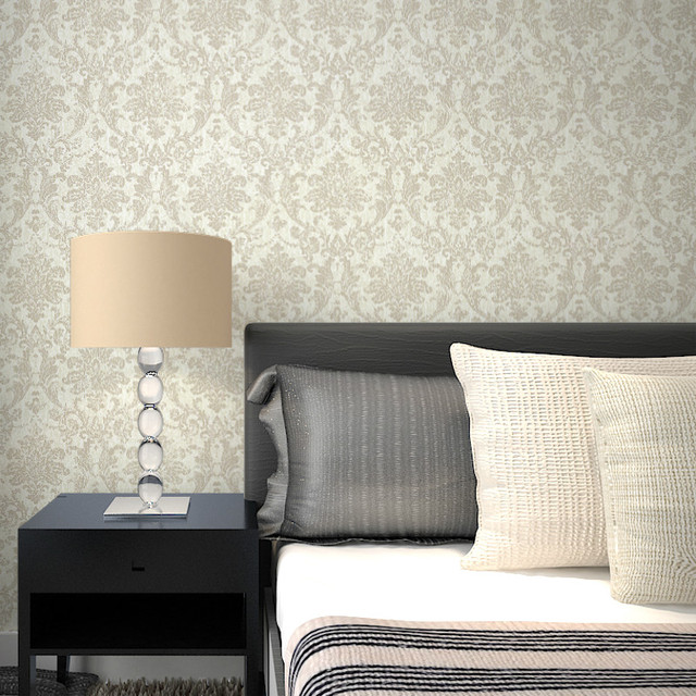 Victorian Vintage Beige Floral Damask Wallpaper For Wall Classic