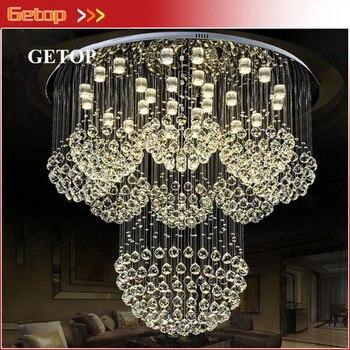 Modern Lüks LED Yuvarlak Kristal Işıkları Otel Mühendisliği Fener Kristal Işığı Dubleks Ev Villa Oturma Odası Büyük Avize