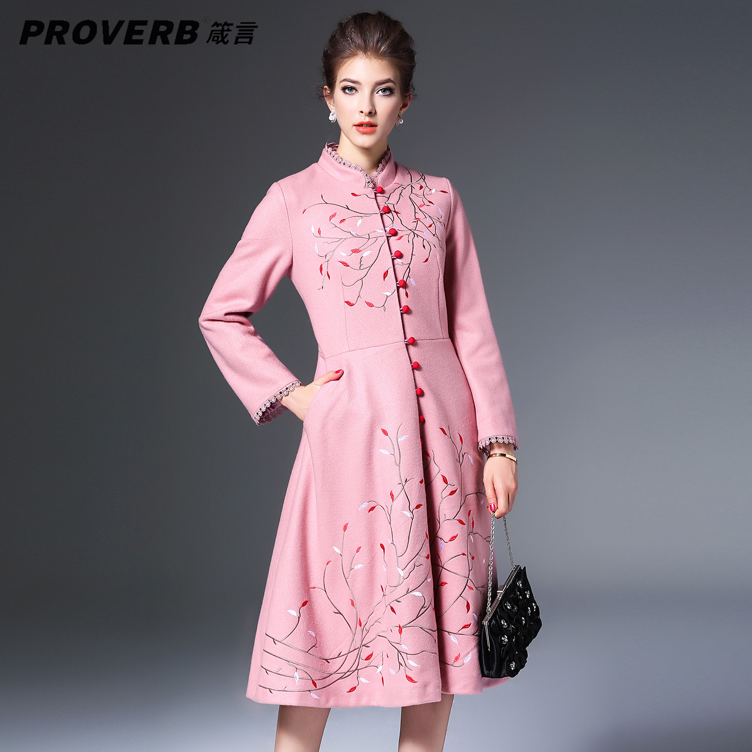 PROVERB Elegant Women embroidery Vintage Desses A Line Stand Long Sleeve Wool Polyester Winter Fall Holiday Lady Midi Dress