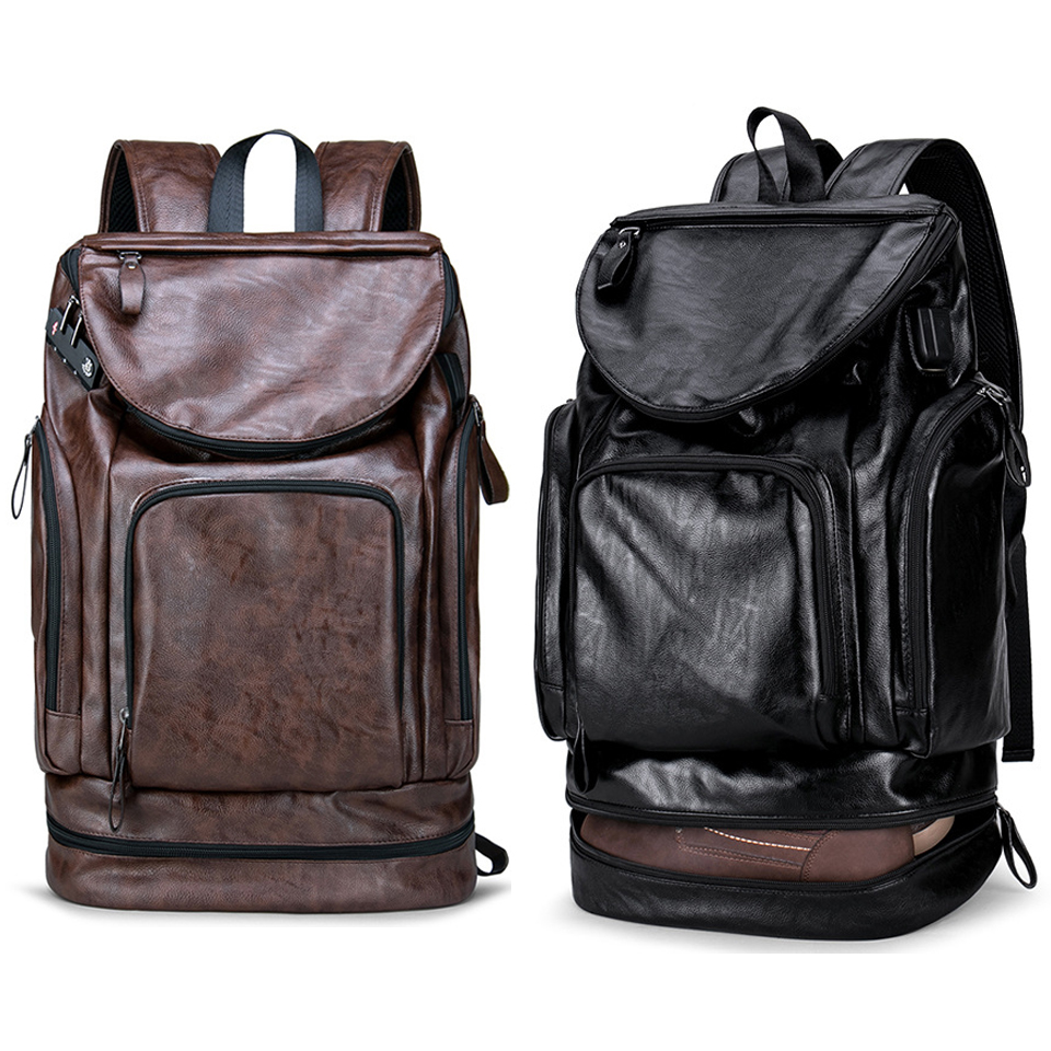 PU Leather Backpack Men Laptop Backpacks 17 Anti theft Male Bag Pack Waterproof USB Charging Password