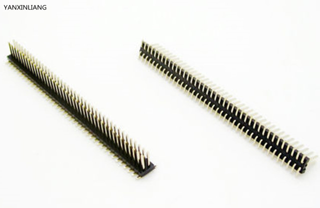 2pcs Pitch 1.27mm 100 Pin 2x50Pin SMT SMD Double Row Male Breakable Pin Header Connector Strip for Arduino Black copper 2 54mm smd double row 5pin headers black silver 10 pcs