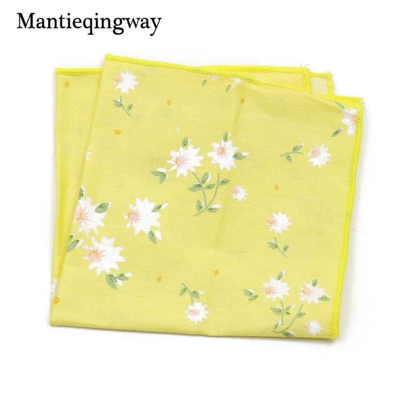Mantieqingway Men's Wedding Tuxedo Cotton Pocket Square Handkerchief Men Floral Printed Small Hanky Business Chest Towel