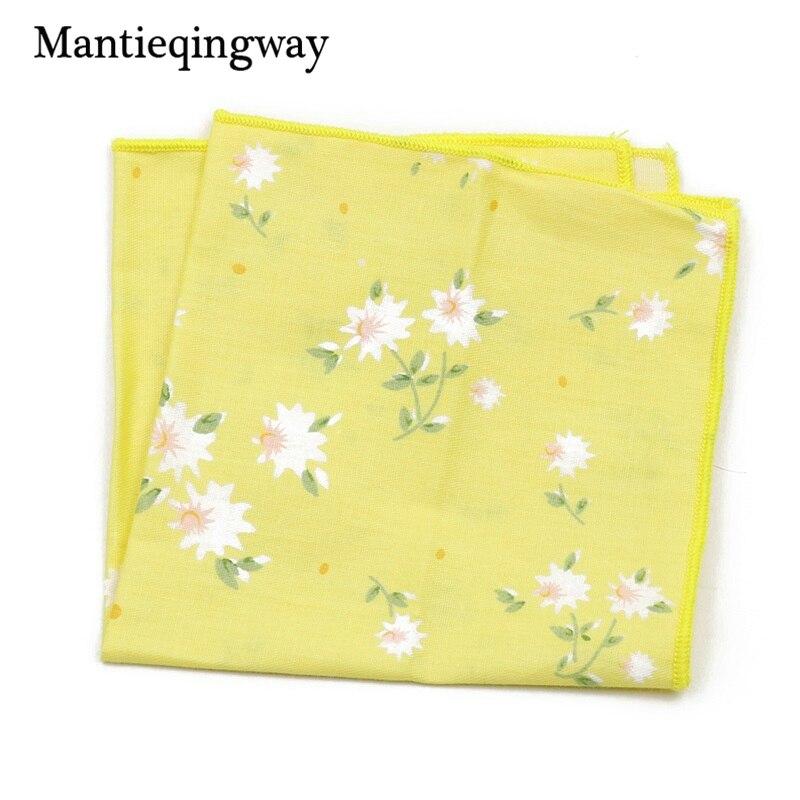 Mantieqingway Mens Wedding Tuxedo Cotton Pocket Square Handkerchief Men Floral Printed Small Hanky Business Chest Towel