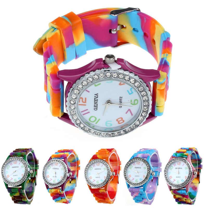 ... 2018 Для женщин часы Женева Силиконовые Кристалл Bling аналоговые  цифровые кварцевые наручные часы новая классика цвет 8cc760b2ee646