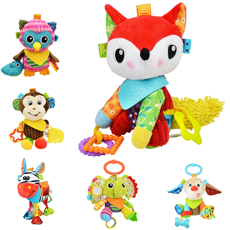Sozzy Plush Baby Toys Rattles Baby Bed Crib Cot Buggy Hanging Toy Fox Owl Elephant Dolls Placate Activity Toys Baby Educational