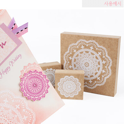 Free Shipoping  Romantic Lace Stamp For Home Decoration Scrapbook Diary Gift DIY Vintage Retro Wooden Stamp Classic Lace Flower