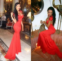 Olesya Malinskaya Sweetheart Cap Sleeve Open Back Red Fitted Mermaid Slim Backless Sexy Prom Dress Special Occasion Dresses