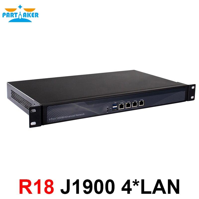 Partecipe R18 Router Mikrotik Con J1900 4 Ethernet Tipo di Cabinet Fanless Versione 2 gb di Ram 8 gb SSD ROS