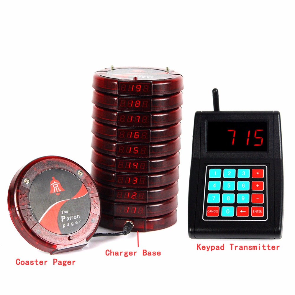 Restaurant Food Court Guest Wireless Paging Calling System Coaster Pagers Guest Catering Equipment Waiter Bell Service F3198C wireless table call system waiter buzzer 15 button and 2 watch pagers for catering equipment shipping free