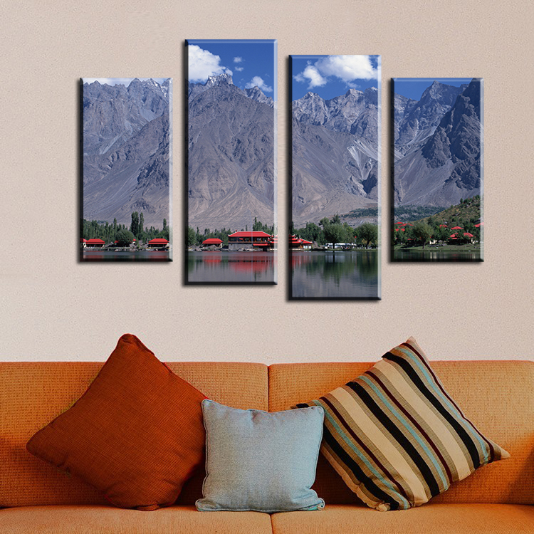 2017 Hot Sale 4pcs Thelake Mountain House Wall Painting Print On Canvas For Home Decor Ideas Paints Pictures Art No Framed