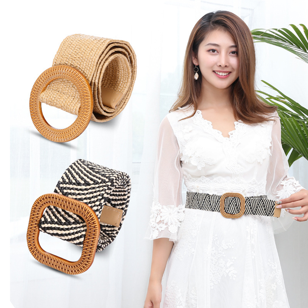 KLV Wooden Button   Belt   For Women Elastic Straw   Belt   for Dress Casual Female Dresses Long Shirt Skirts Slim Waist   Belt   Decor