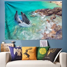 Sea Ocean Dolphin Tapestry Beach Scenery Mandala Wall Hanging Hippie Psychedelic Decorative Tapestries Cloth