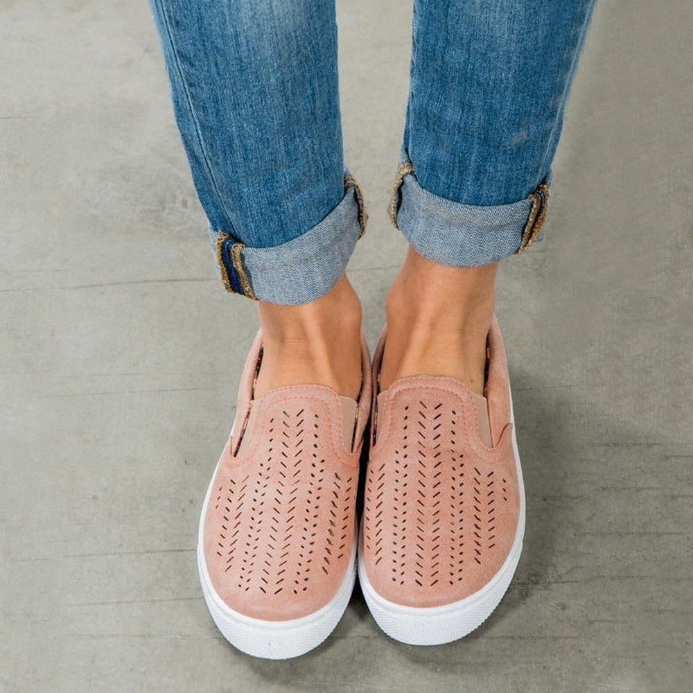 Ladies Women Hollow Out Shoes Round Toe Platform Flat Heel Slip on Casual Shoes Brand fashion Sapato Feminino Women's Footwear fashion loafers women flat platform shoes moccasins air mesh round toe ladies footwear women summer casual shoes female dc64
