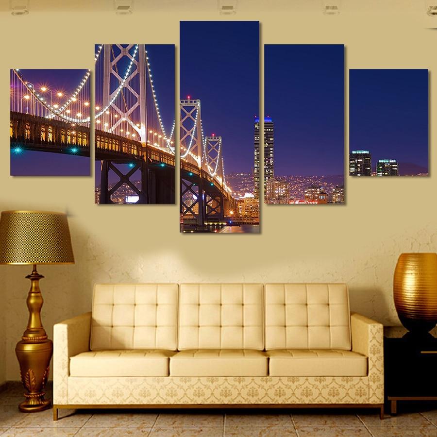 ④New Hot Print Art Canvas Painting Unframed 5 Piece Large HD Bridge ...