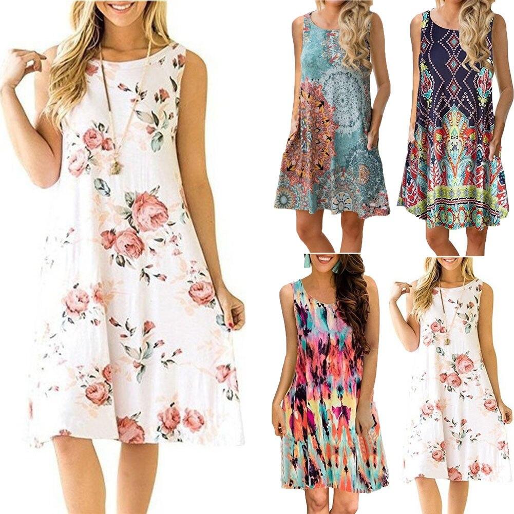 plus size sleeveless summer dress women fashion boho