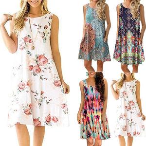 Plus Size Sleeveless Summer Dress Women Fashion Boho Dresses 2018 Casual Women Loose Dress Sundress Outfits Fashion Mini Dress(China)