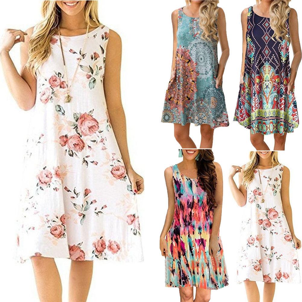 Talla grande vestido de verano sin mangas mujer moda Boho vestidos 2018 Casual mujeres suelto vestido de verano trajes moda Mini vestido
