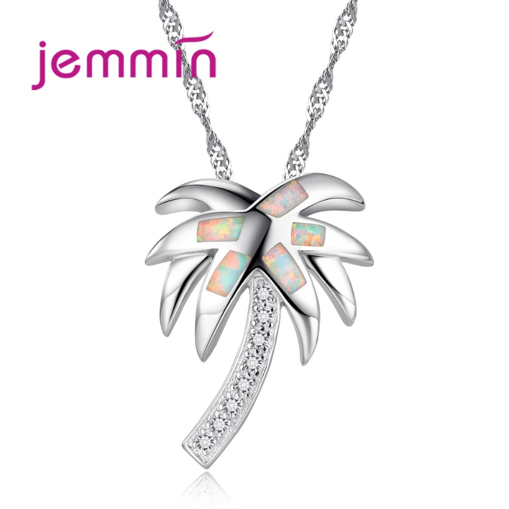 Jemmin Fine Quality Unique Palm Tree Necklaces For Women With Rhinstone S90 Silver Color Pendant Necklace Valentine's Day