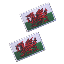 5pcs/lot Wales Rectangular Shape Flag patches embroidered flag national for clothing DIY Decoration