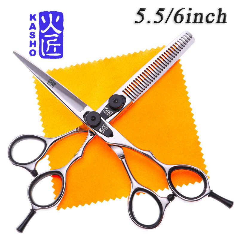 KASHO Japan professional 5.5/6 inch hair scissors hairdressing tool salon barber scissors hair cutting shears thinning scissors kasho 7 inch cutting scissors professional scissors hairdressing salon barber pet shears dragon shaped handle