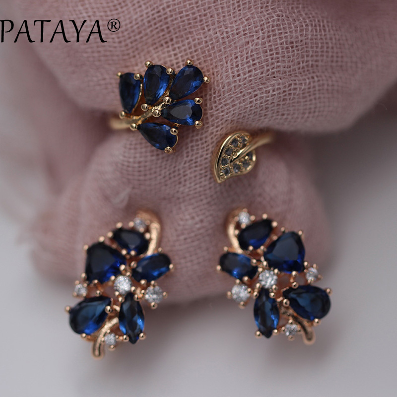 PATAYA Fashion Dark Blue Water Drop Natural Zircon Earrings Up Open Rings Sets 585 Rose Gold Exclusive Design Women Fine Jewelry