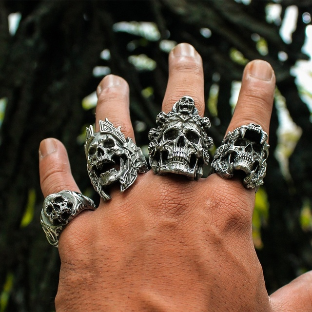 Indian jaguar warrior skull ring