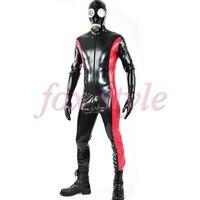Personalizado nuevo remiendo de la manera traje de catsuit de látex sexy ropa de látex de caucho de goma cuerpo el uso para el hombre