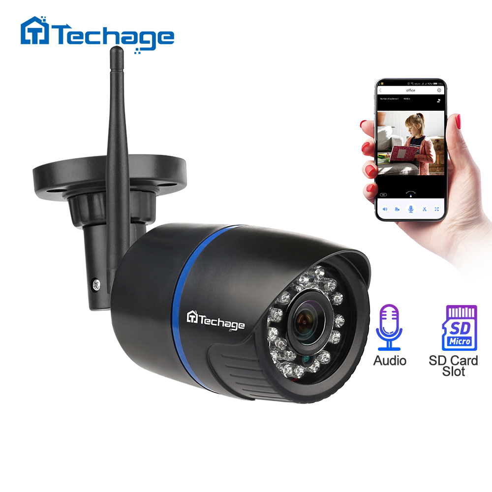 Techage 720P Wireless Wired IP Camera HD 1.0MP  Waterproof P2P ONVIF WIFI Camera Motion Detect Nignt Vision Home CCTV Security smael 1708b