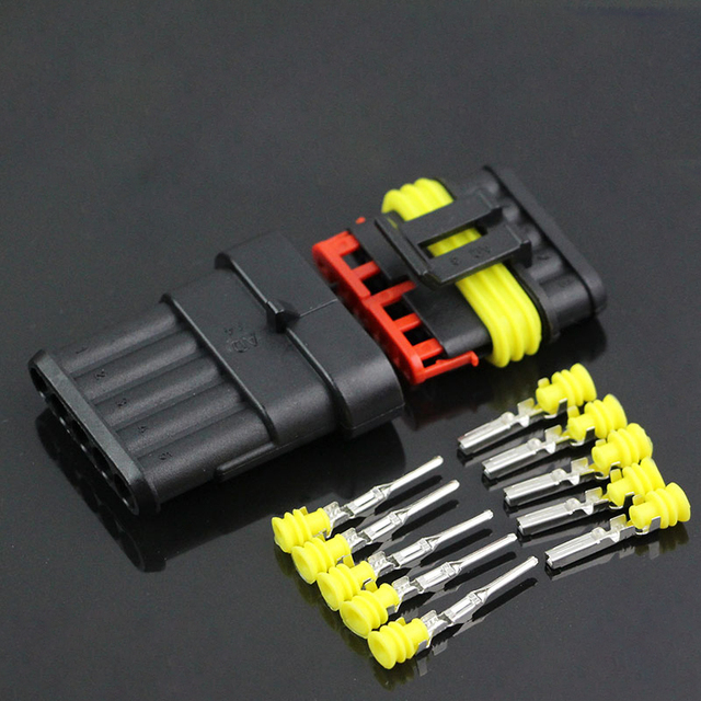 10 Set 5 Pin Waterproof Automotive Connector AMP Cable Wire Socket ...
