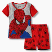 Купить с кэшбэком Boys Girl Kids Pajamas Set Cartoon Infant Summer Nightwear Cotton Children House Wear Suit 2pcs Tshirt+pants Toddler Sleepwear