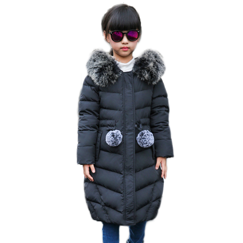 Children Down jacket for Girls Russian Winter -30 degree Kids Long Style Outdoor Windproof thickening Coat parka Child Outerwear high quality children winter outerwear 2017 baby girls down coats jacket long style warm thickening kids outdoor snow proof coat