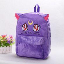 Сладкие Девочки Фиолетовый Luna Кошка Мешок Harajuku Сейлор Мун Хлопок Рюкзак