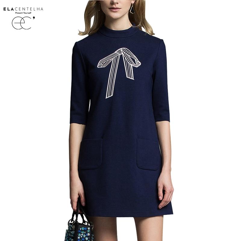 ElaCentelha Women Autumn Winter Dress 2016 New Fashion Brand Dress A Line Bow Embroidery Half Sleeve O Neck Office Work Dresses женское платье dress new brand 2015 o dresses women