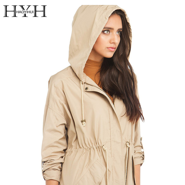 HYH HAOYIHUI Women Coat Autumn Elegant Solid Beige Hoodies Long Sleeve Zipper Outwear Basic Loose Streetwear Trench Coats