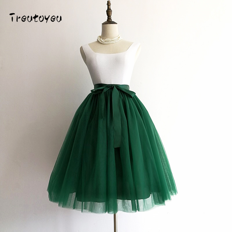 5 capas Midi A Line tutú tul falda alta cintura plisada Skater faldas mujeres Vintage Lolita vestido de baile verano 2018 saias jupe