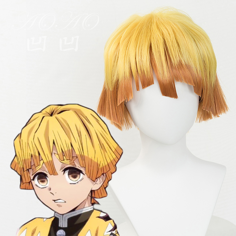 Anime  Demon Slayer: Kimetsu No Yaiba Zenitsu Agatsuma Short Golden Brown Wig Heat Resistant Hair Cosplay Costume Wig + Wig Cap