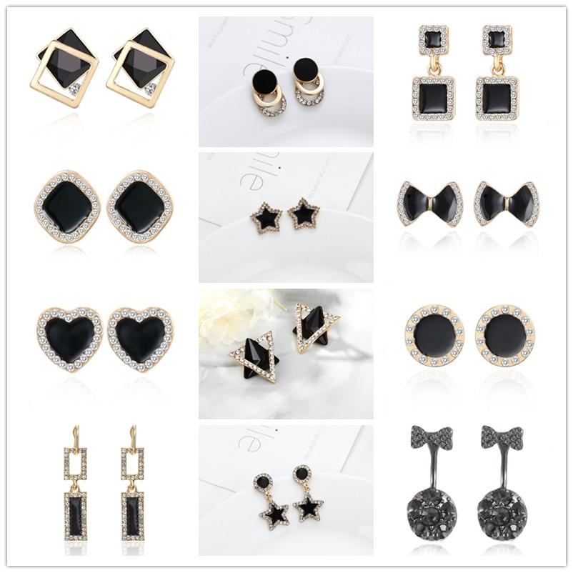 Minimalist Jewelry Black Stud Star Love Heart Geometric Bowknot Rhinestone Earrings For Women Korean Style Fashion Simple Brinco