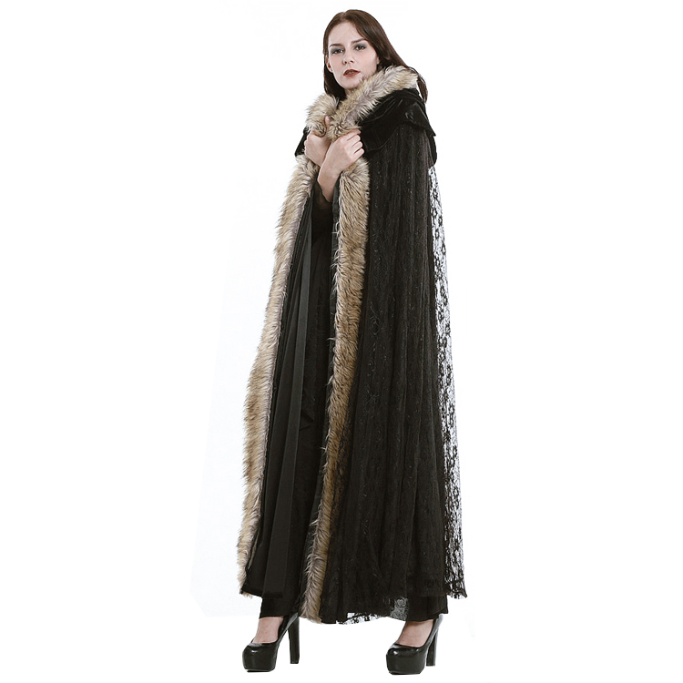 Mode Gothic Women Fur Hooded Long Jacket Coats för kvinnor Steampunk - Damkläder