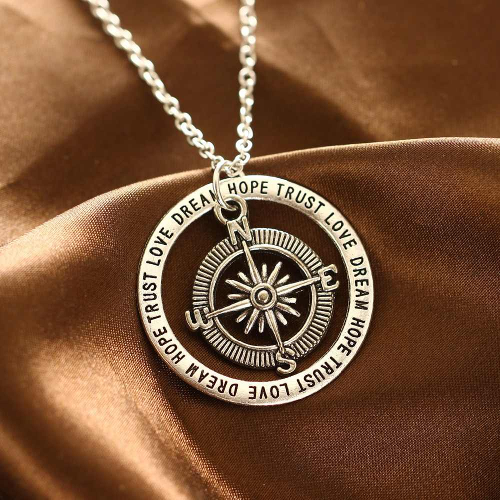 Bespmosp New Compass Love Dream Hope Trust Circle Charm Chain Pendant Necklace Family Best Friends Jewelry Personality Gifts Hot