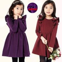 Winter Baby Dress Long Sleeve Velvet Ruffles Dresses For Princess Girl Clothing Party Dance Weeding Dress Of Teen Girls Clothes