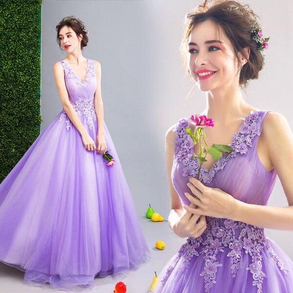 Princesse robes De soirée 2019 nouvel an fée violet robes De bal pour jeune femme dentelle fleur illusion Robe formelle Robe De soirée